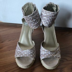 Tan and White Polka Dot Open-Toe Wedge